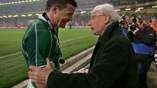 Ireland's Grand Slam captain of 2009 Brian O'Driscoll is embraced by 1948 team talisman Jack Kyle.