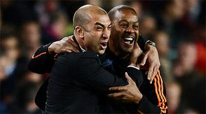 Chelsea coach Roberto Di Matteo celebrates Chelsea's miraculous result in the Nou Camp. Photo: Getty Images