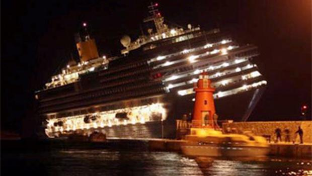 The Costa Concordia listing after running aground on Friday evening