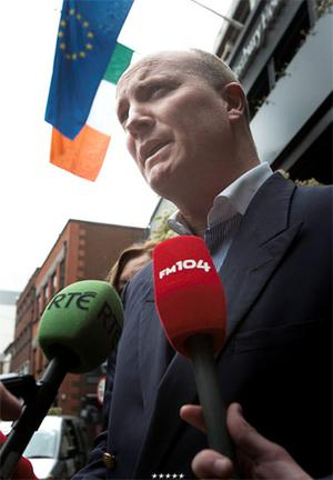Declan Ganley speaking to media in response to  comments made by Paschal Donoghue TD outside the Westbury Hotel, Dublin.