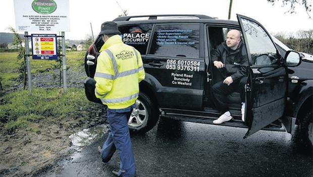 A private security firm patrols Millstream Power Plant just outside Fenagh, Co Carlow