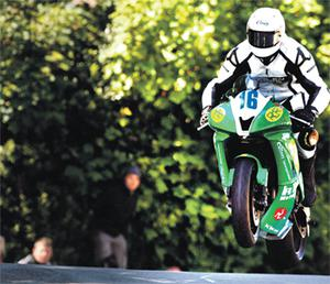 Derek on his bike at the TT races yesterday just minutes before his crash