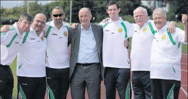 Skerries man Peter Heffernan (second from left) with his fellow team-mates and Dr. David Hickey.