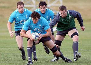 Ireland's Mike McCarthy in action during squad training ahead of their Steinlager Series 2012, 3rd test, game against New Zealand on Saturday.