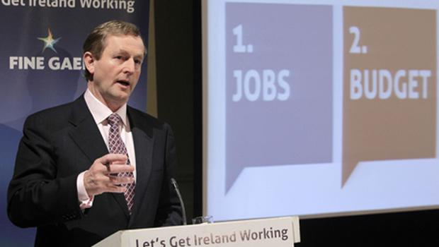 Fine Gael Leader Enda Kenny launches his party's General Election Manifesto in Dublin this morning. Photo: PA
