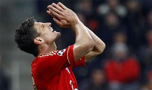 Bayern Munich's Mario Gomez reacts during their Champions League semi-final first leg soccer match against Real Madrid in Munich. Photo: Reuters