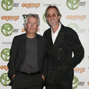 Tony Banks, left, and Mike Rutherford of Genesis arriving at the Orange Amplification Progressive Music Awards