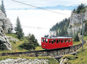 The Pilatus funicular is the world's steepest rack railway system. Photo courtesy of Swiss tourism
