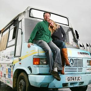 Andy Pag and Christina Ammon at the Port of Dover in Kent, after their journey