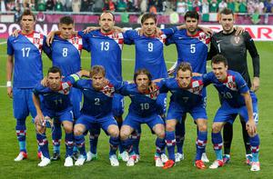 Croatia's team players pose before their Group C Euro 2012 soccer match