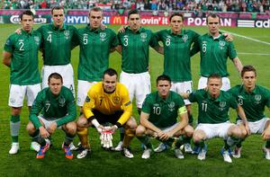 Ireland's national soccer players line-up for a team photo