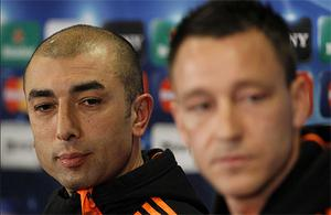 Chelsea coach Roberto Di Matteo with team captain John Terry at the press conference ahead of tonight's Champions League clash with Napoli