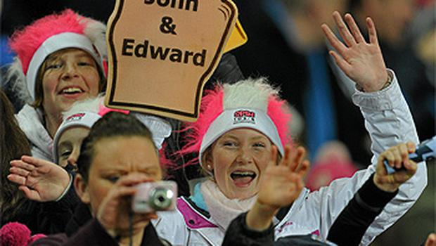 Jedward fans enjoy the entertainment between games. Photo: Sportsfile