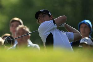 Rory McIlroy tees off during the Pro-Am at Wentworth yesterday. Photo: Getty Images