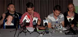 Family members of James Nolan (from left), Gareth Dudley (brother in law), Pat Nolan (uncle), Brother Andrew Nolan and his Partner Sophie pictured at a press briefing yesterday in Bydgoszcz