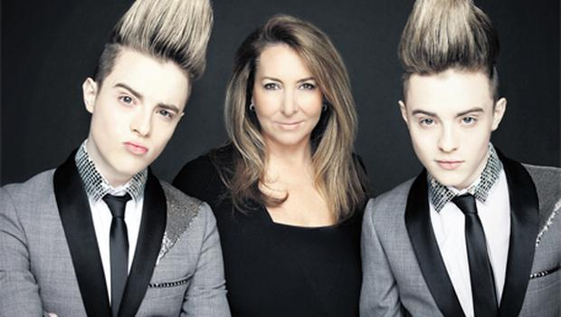 Caroline Downey Desmond with Jedward, who recorded their Eurovision song yesterday
