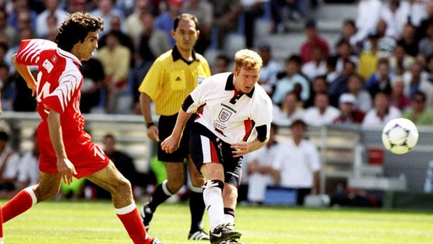 Paul Scholes announced his arrival on the world stage during his first visit to the Stade Velodrome in the 1998 World Cup when he scored against Tunisia. Photo: Getty Images