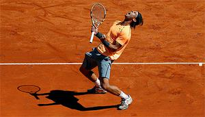 Rafael Nadal celebrates after defeating Novak Djokovic in the final of the Monte Carlo Masters. Photo: Reuters