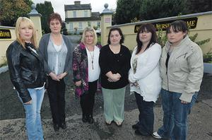 Former staff members (from left) Gina Costigan, Anne Wall, Susan Bergin, Tina Komar, Mary Dunne and Erika Dunne outside Avondale Nursing Home in Callan, Co Kilkenny