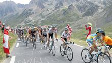 The peloton makes its way up an incline during the 16th stage of the Tour de France between Bagneres-de-Luchon and Pau.