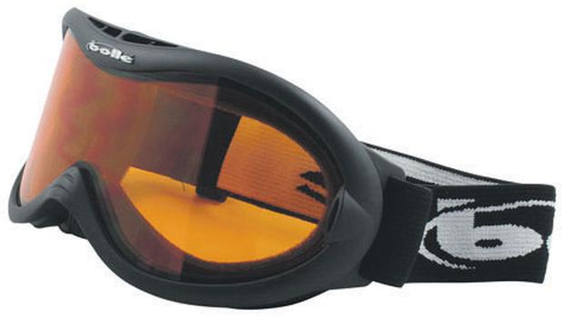 Bolle black 'shark' goggles with citrus lens, €75 www.claimtheframe.com, a good hunting ground for goggles and sunnies for the fashionconscious skier and snowboarder