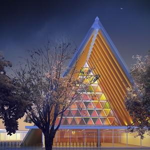 An artist's impression of the new cardboard cathedral planned for Christchurch (AP)
