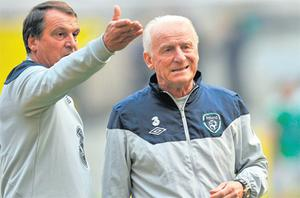 Giovanni Trapattoni in conversation with his assistant Marco Tardelli in Moscow yesterday