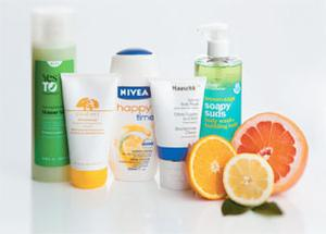 Pictured, from left: Yes to Cucumbers Shower Gel; Origins Gloomaway Grapefruit Body Buffing Cleanser; Nivea Happy Time Shower Cream; Dr Hauschka Lemon Body Wash; Bliss Lemon + Sage Soapy Suds