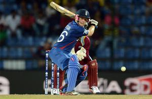 England's Eoin Morgan hits out during the Twenty20 World Cup Super 8 cricket match against the West Indies at Pallekele