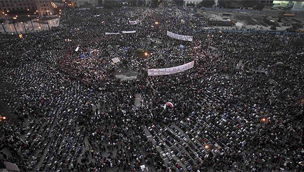 Crowds pray in Tahrir Square, Cairo, yesterday. Photo: AP
