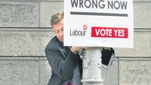 Labour's Dominic Hannigan was left red-faced yesterday when a publicity stunt outside Sinn Fein's Dublin offices almost went horribly wrong.