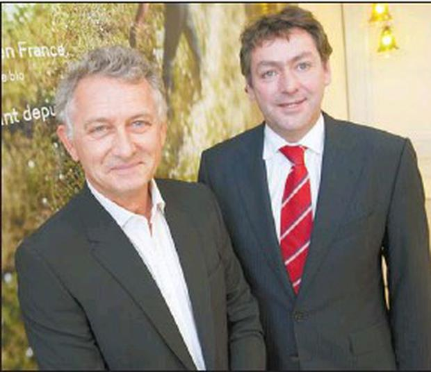 Jacques Rocher, President of the Yves Rocher Foundation, with Minister for Trade and Commerce, Billy Kelleher, T.D., at the announcement of the investment of €3.7m in the French Worldwide Botanical Beauty brand's Cork facility in 2010.