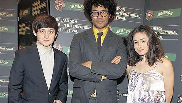 Stars Craig Roberts (left) and Yasmin Paige with 'Submarine' director Richard Ayoade (centre) at the opening screening of the Dublin Film Festival last night