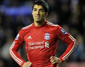 Liverpool's Luis Suarez during the Barclays Premier League match at the DW Stadium, Wigan. PRESS ASSOCIATION Photo. Picture date: Wednesday December 21, 2011. See PA Story SOCCER Wigan. Photo credit should read: Martin Rickett/PA Wire. RESTRICTIONS: Editorial use only. Maximum 45 images during a match. No video emulation or promotion as 'live'. No use in games, competitions, merchandise, betting or single club/player services. No use with unofficial audio, video, data, fixtures or club/league logos.