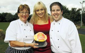 Miriam O'Callaghan (centre) and chefs Anne Neary (left) and Edward Hayden launch the Kilkenny Food Festival