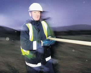 ESB linesman Tommy Mannion checking lines near Glenties, Co Donegal