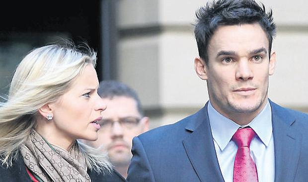 Scotland rugby player Max Evans and his girlfriend Katy Johnson outside Edinburgh Sheriff Court. Photo: PA