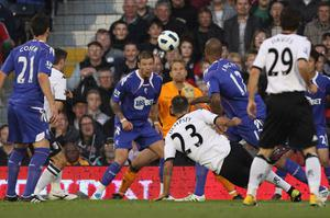 Clint Dempsey scores Fulham's first goal. Photo: Getty Images