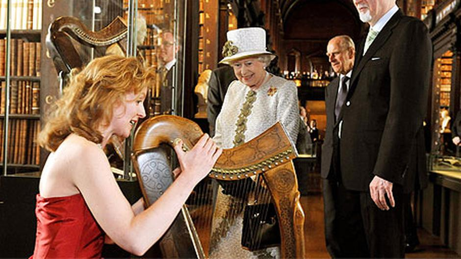 Siobhán Armstrong plays for Britain's Queen Elizabeth II in 2011. Photo: PA