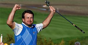 Graeme McDowell celebrates after securing Ryder Cuyp victory for Europe. Photo: Reuters