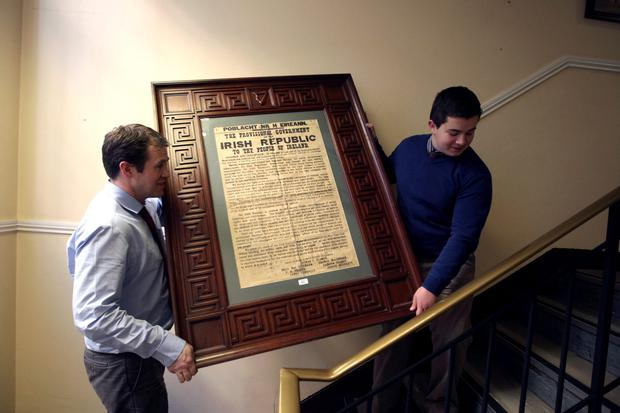 18/4/12 A copy of the Declaration of Independence which sold for 100,000 euro at auction at Adams on St Stephen's Green, Dublin. Picture:Arthur Carron/Collins