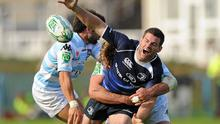 Leinster's Fergus McFadden spills the ball after being tackled by Racing Metro duo Jerome Fillol and Andrea Lo Cicero at the RDS on Saturday. Photo: Matt Browne / Sportsfile