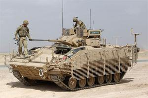 A warrior vehicle similar to the one that was caught in an explosion in Afghanistan today. Photo: PA