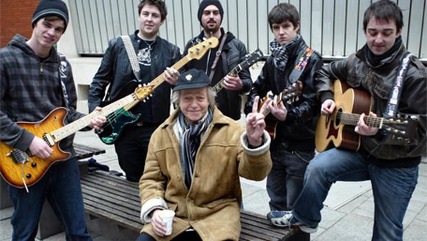 Thin Lizzy co-founder Eric Bell, seated, with fans, l to r, Shane O'Raw, Paddy Lennon, Niall Hennessy, Matthew Brady and Neil MacNamara , who turned up to play at the impromptu gig
