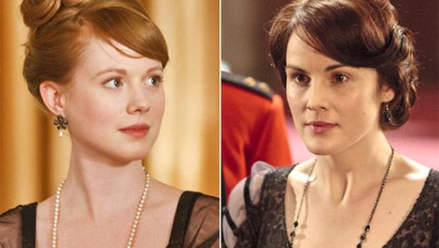 Zoe Boyle as Lavinia Swire (left) and Michelle Dockery as Lady Mary. Photo: ITV