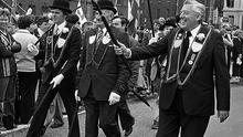 Ian Paisley at an Apprentice Boys March at the Diamond Square in Derry in August 1980