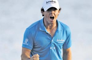A jubilant Rory McIlroy after winning the Honda Classic in Palm Beach Gardens, Florida, last Sunday, which saw him become the top-ranked golfer in the world. Photo: AP