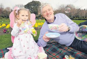 Pat Kenny was also out and about yesterday, sharing a cuppa with Ava O'Donnell (3) as he helped promote the Alzheimer Society of Ireland's upcoming tea day fundraiser on May 3, 2012