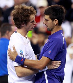Andy Murray embraces Serbia's Novak Djokovic after defeating him in the men's singles final match at the US Open
