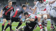 Ulster's Pedrie Wannenburg goes over to score his team's try during Saturday's Heineken Cup semi-final